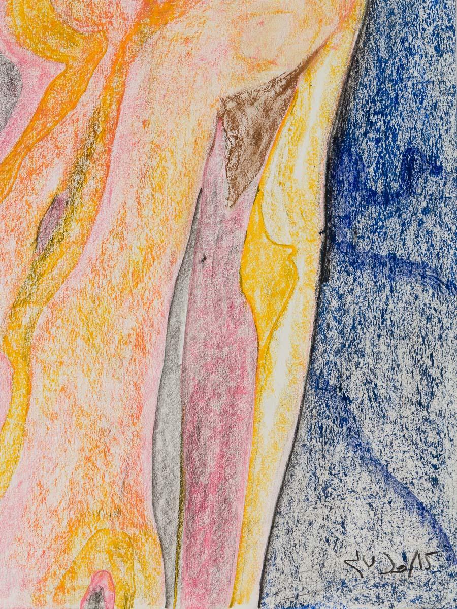 'Naked' by Jutai Toonoo - Cape Dorset original Inuit Art drawing