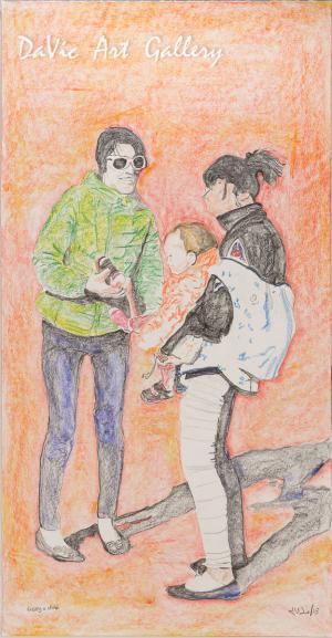 'Raising a Child' by Jutai Toonoo - Cape Dorset original Inuit Art drawing