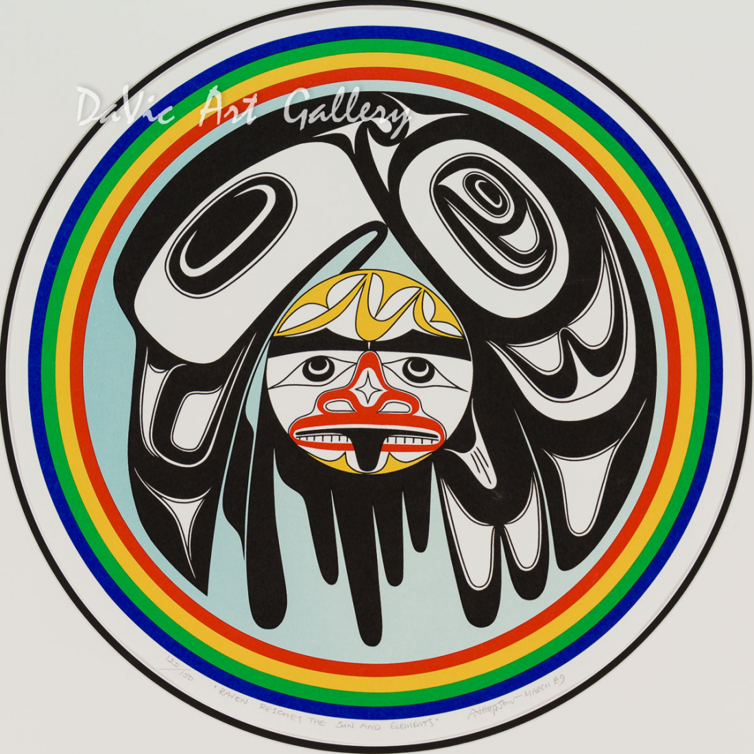 'Raven Rescues the Sun and Elements' by Art Thompson - First Nations Northwest Coast Nuu-Chah-Nulth Art presented by DaVic Gallery of Native Canadian Arts 'Raven Rescues the Sun and Elements' by Art Thompson