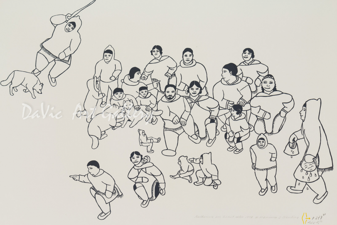 'Gathering for Feast' by Hannah Kigusiuq - Baker Lake Inuit Art Limited Edition print