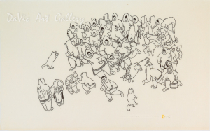 'Training Young Hunters' by Hannah Kigusiuq - Baker Lake Inuit Art Limited Edition print by DaVic Gallery of Native Canadian Arts