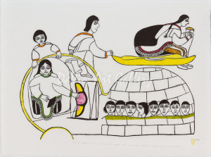 'Qiviuq Spits on the Evil Woman' by Janet Kigusiuq - Baker Lake Inuit Art Limited Edition print