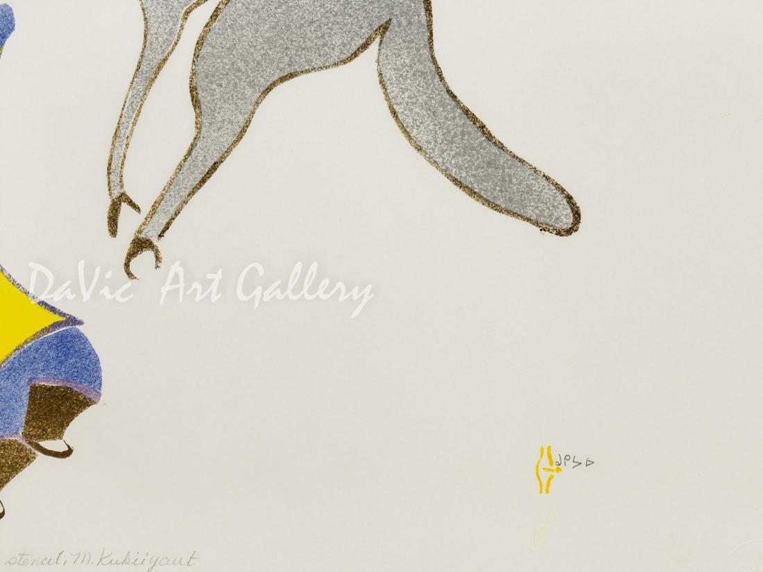 'Men Attacking the Wolf' by Myra Kukiiyaut - Baker Lake Inuit Art Limited Edition print