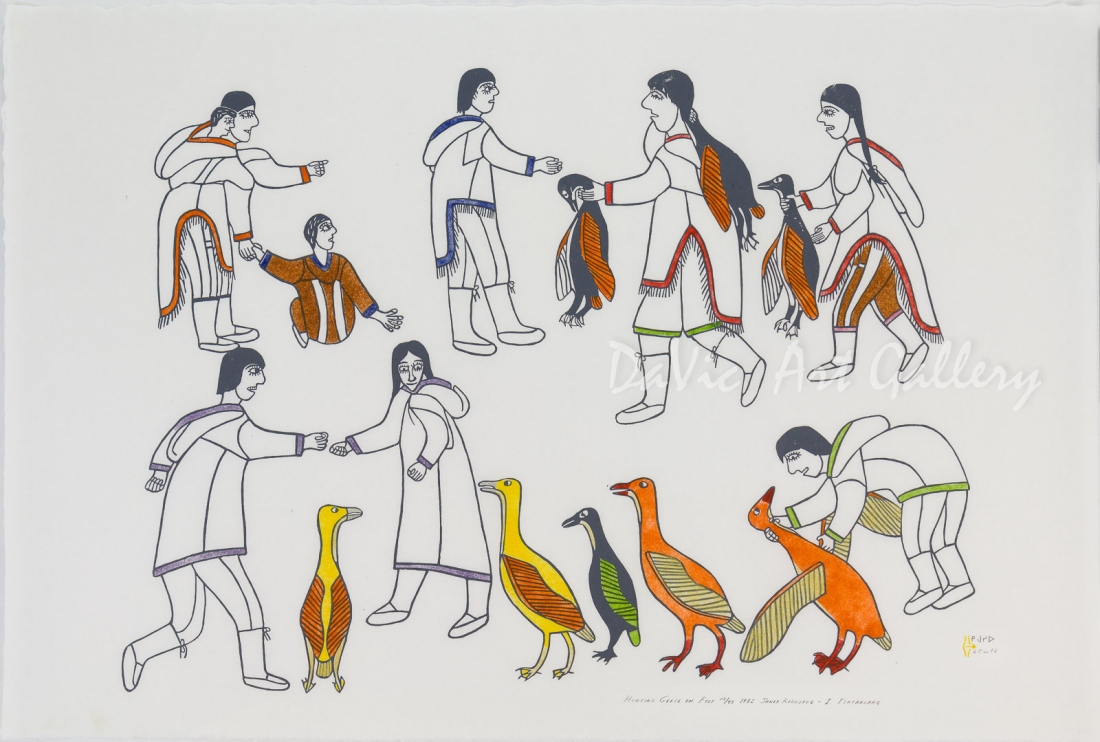 'Hunting Geese on Foot' by Janet Kigusiuq - Baker Lake Inuit Art Limited Edition print