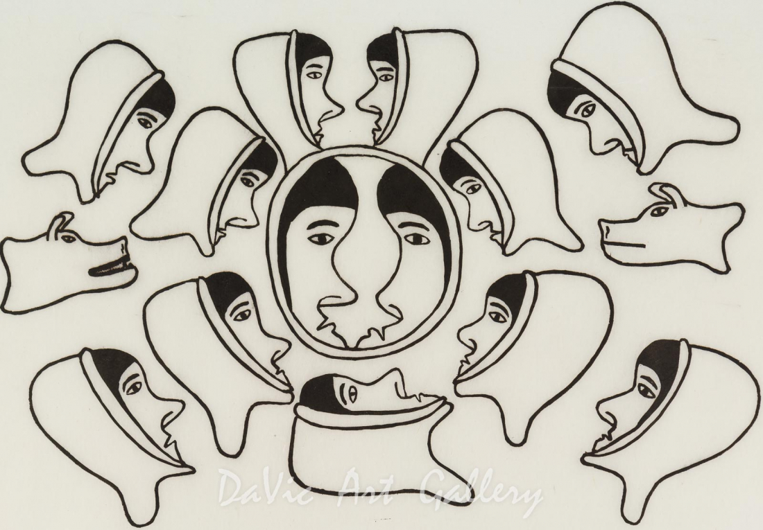 'Decision Made by the Group' by Simon Tookoome - Baker Lake Inuit Art Limited Edition print