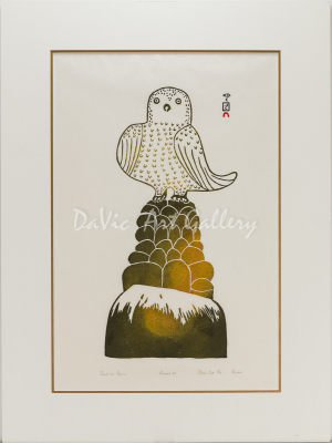 'Owl on Cairn' by Pauta Saila - Cape Dorset Inuit Art print