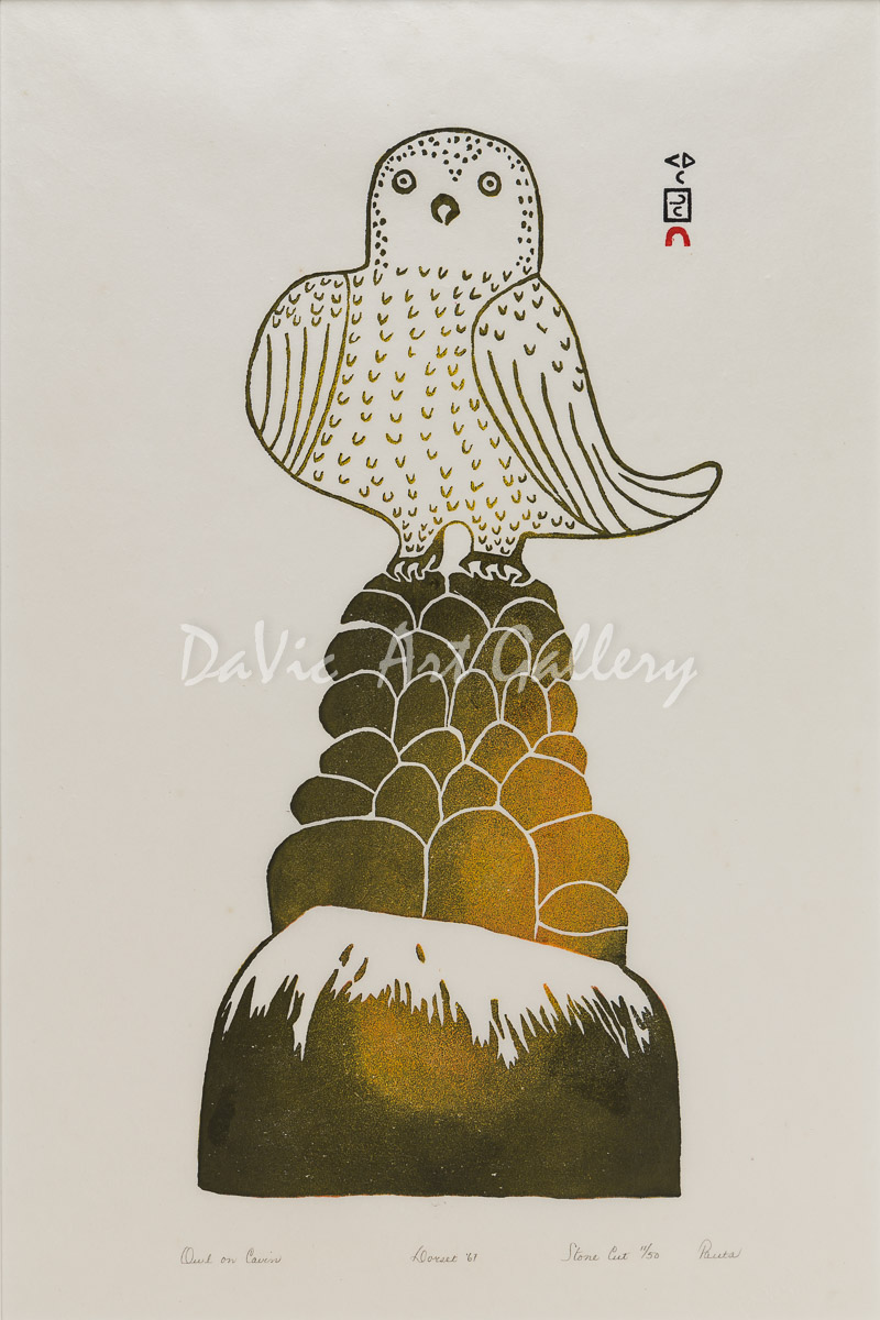 'Owl on Cairn' by Pauta Saila - Cape Dorset Inuit Art print