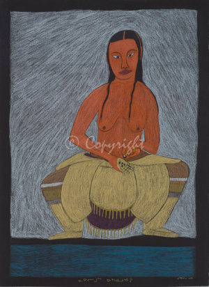 'Where Are Your Cute Marbles' by Ningeokuluk Teevee - Cape Dorset original Inuit Art drawing