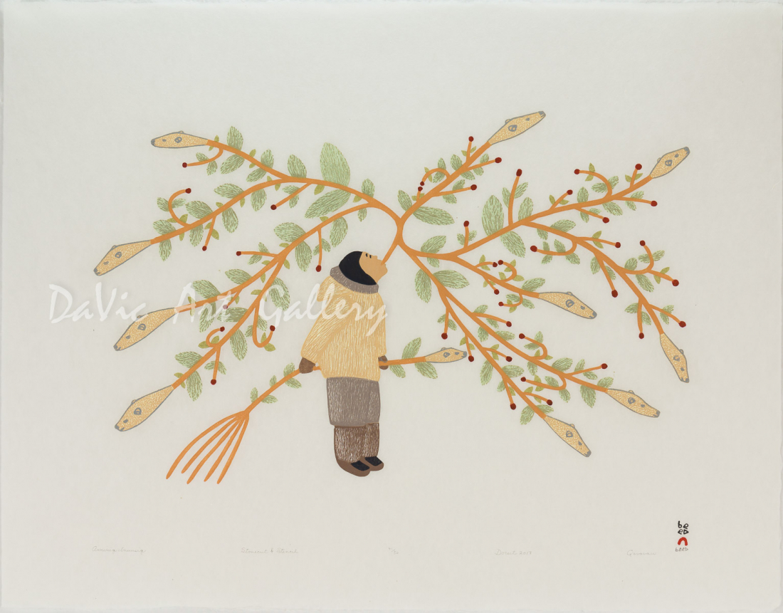 'Arniniq Inuusiq (Breath of Life)' by Qavavau Manumie - Cape Dorset Inuit Art print