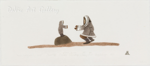 'Woman Looking After Her Child' by Elisapee Ishulutaq - Pangnirtung Inuit Art Limited Edition print