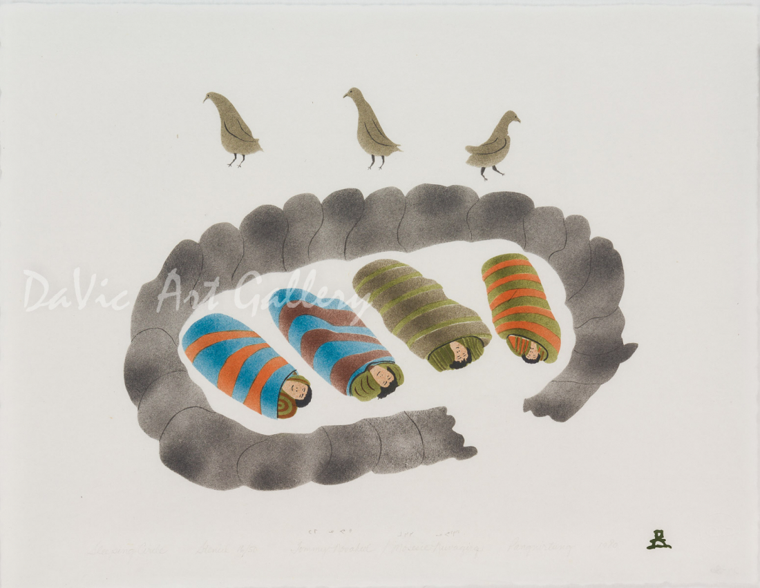 'Sleeping Circle' by Tommy Novakeel - Pangnirtung Inuit Art Limited Edition print