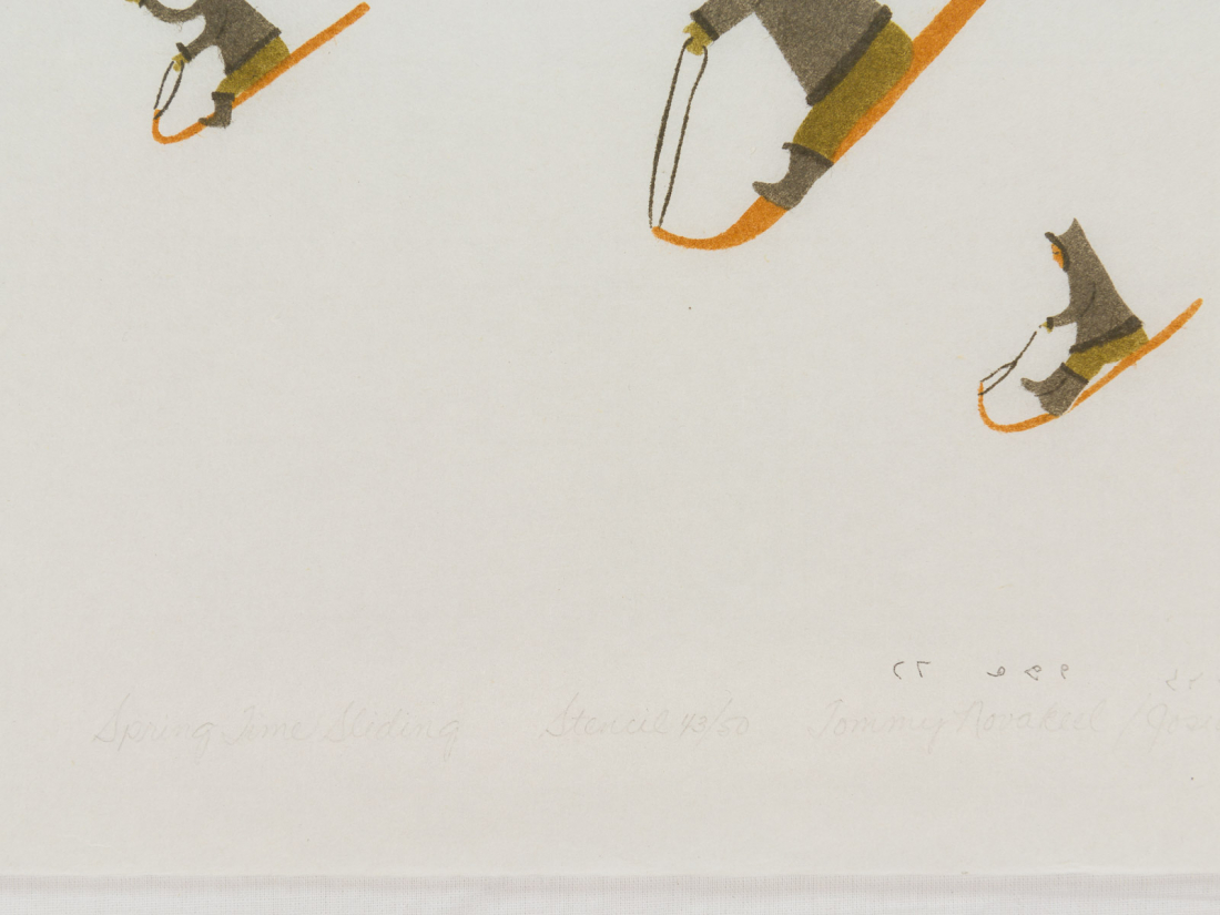 'Spring Time Sliding' by Tommy Novakeel - Pangnirtung Inuit Art Limited Edition print