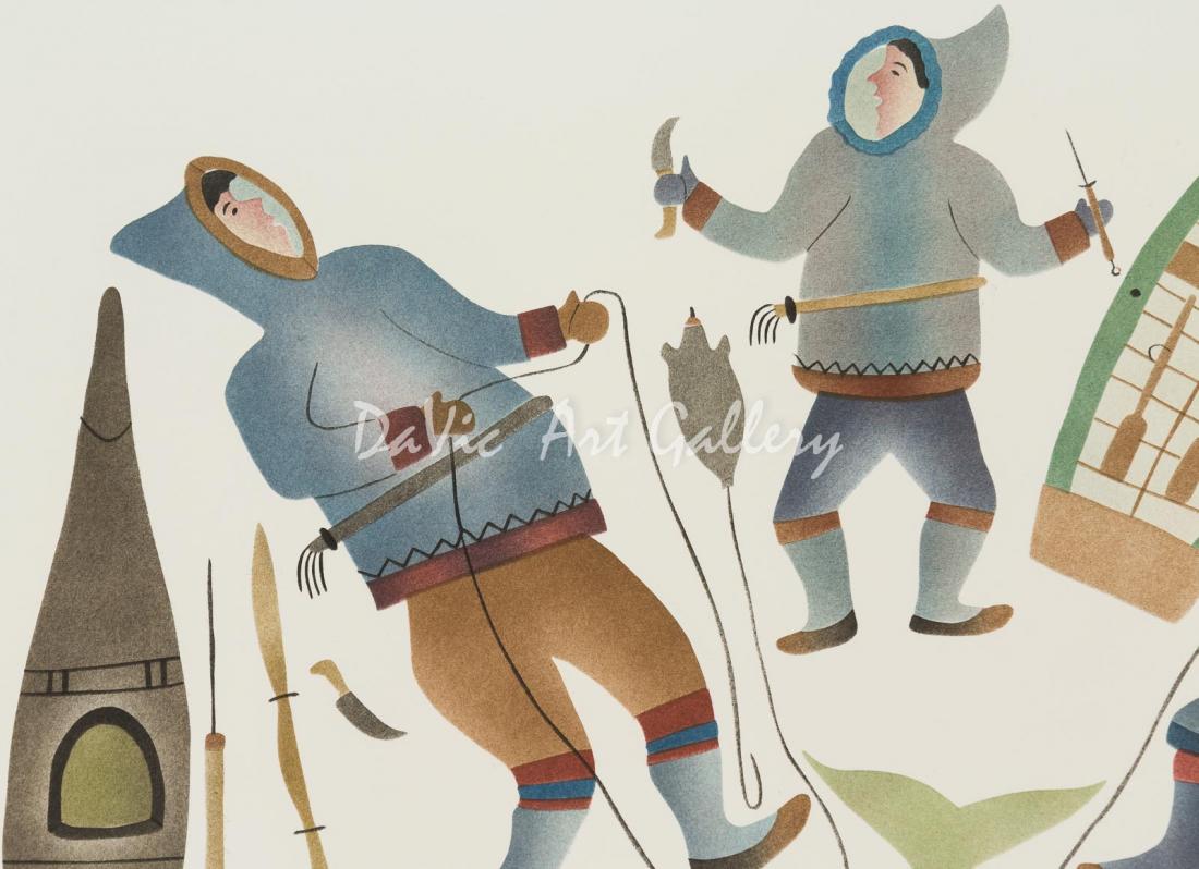 'Floe Edge Hunters' by Pauloosie Karpik - Pangnirtung Inuit Art Limited Edition print