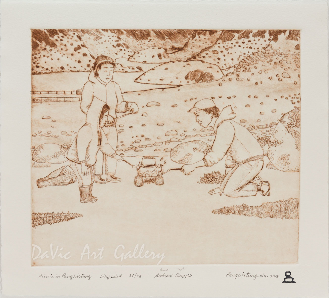 'Picnic in Pangnirtung' by Andrew Qappik - Pangnirtung Inuit Art Limited Edition print