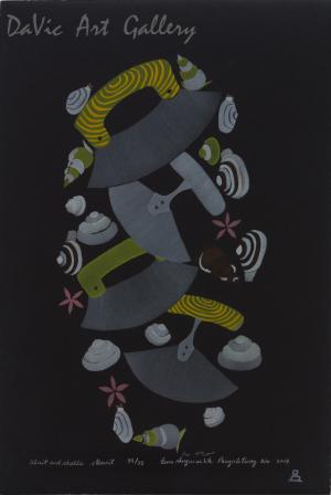 'Uluit and Shells' by Eena Angmarlik - Pangnirtung Inuit Art Limited Edition print