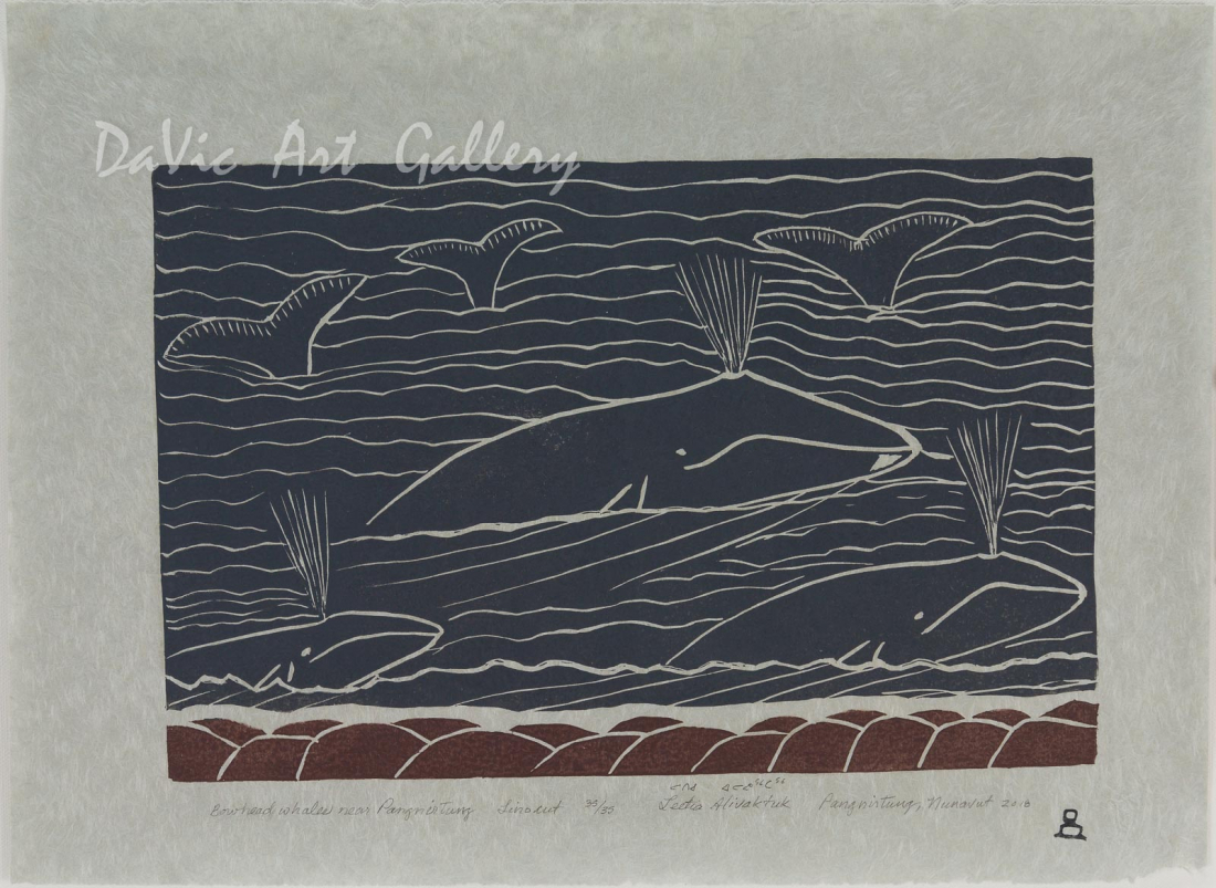 'Bowhead Whales Near Pangnirtung' by Leetia Alivaktuk - Pangnirtung Inuit Art Limited Edition print
