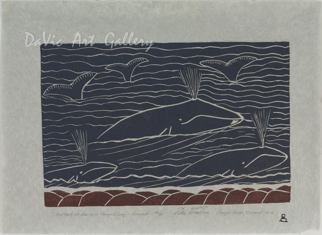 'Bowhead Whales Near Pangnirtung' by Leetia Alivaktuk - Pangnirtung Inuit Art Limited Edition print