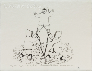 'Piliujartut (Competing Against Each Other)' by Mathewsie Maniapik - Pangnirtung Inuit Art Limited Edition print