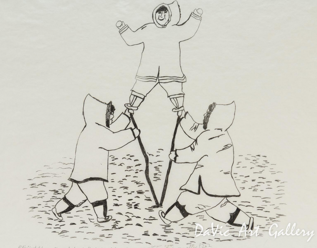 'Piliujartut (Competing Against Each Other)' by Mathewsie Maniapik - Pangnirtung Inuit Art Limited Edition print