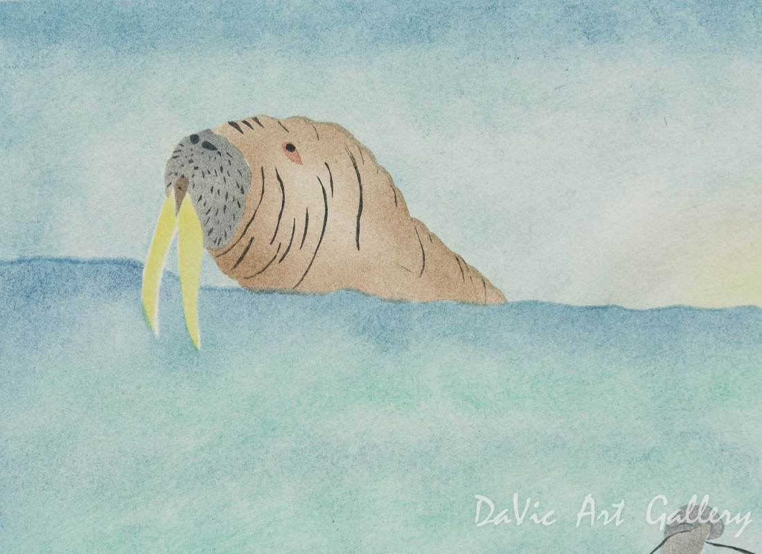 'Huting Walrus with a Harpoon' by May Lonsdale - Pangnirtung Inuit Art Limited Edition print
