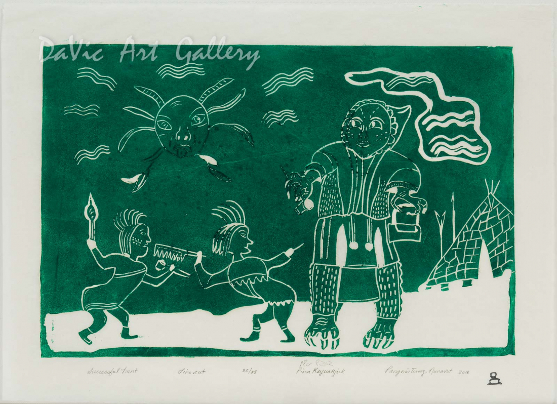 'Successful Hunt' by Piona Keyuakjuk - Pangnirtung Inuit Art Limited Edition print