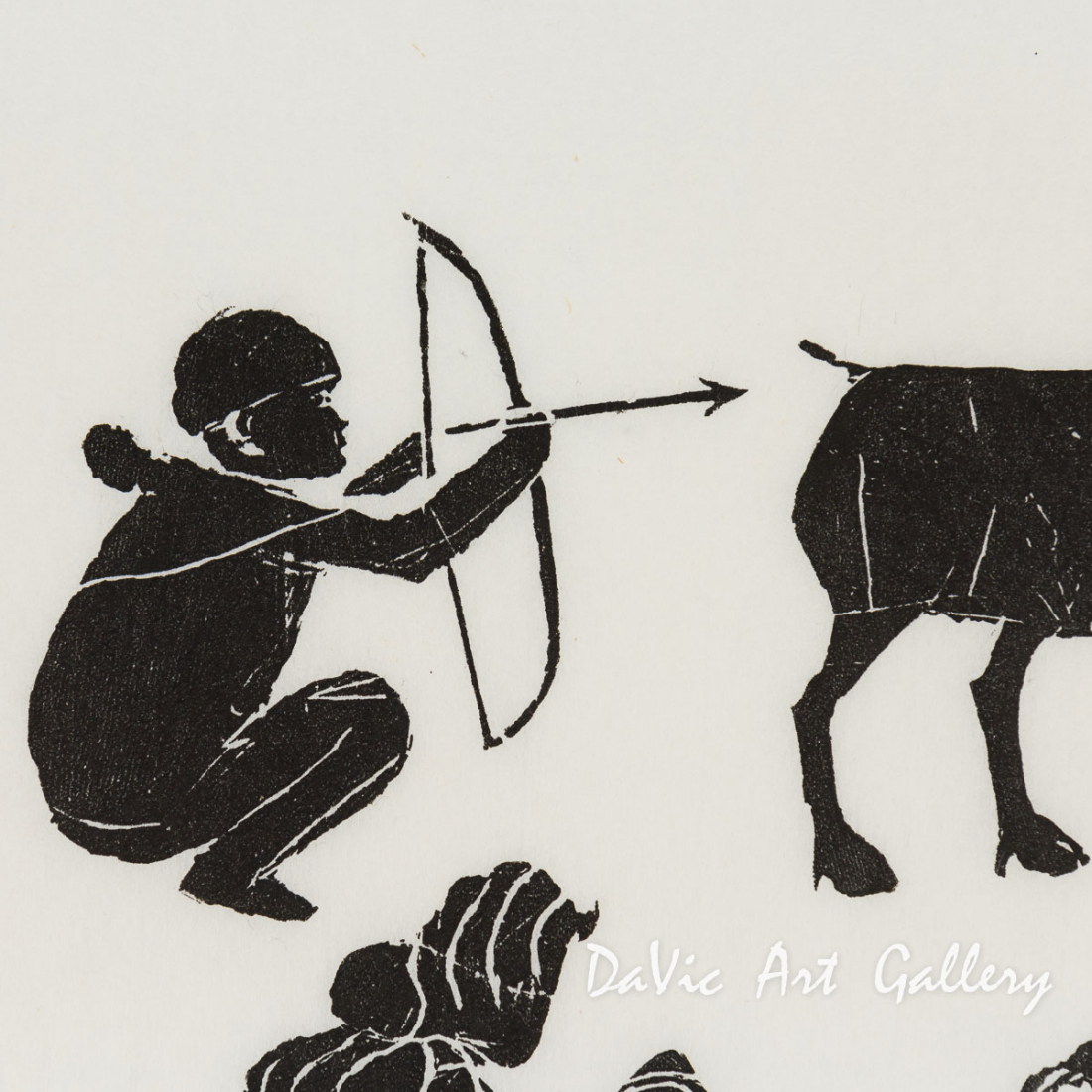 'Hunting Caribou on Way to Trading Post' by Joe Talirinuli - Puvirnituq Inuit Art Limited Edition print