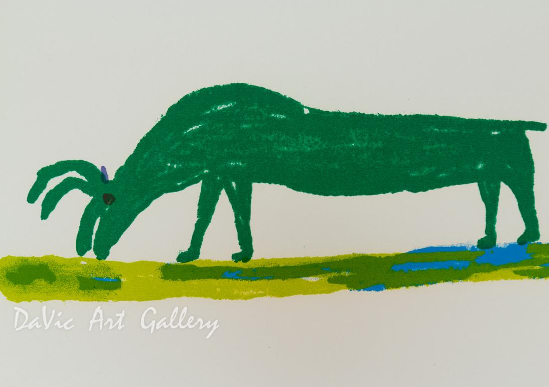 'Caribou Grazing' by Luke Anguhadluq