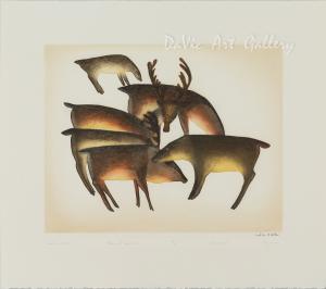 'Caribou Gather' by Mayoreak Ashoona