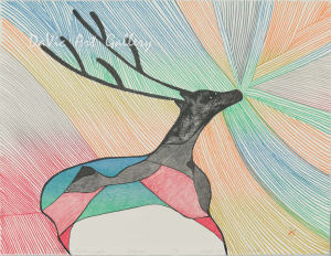 'Caribou in Northern Lights' by Pudlo Pudlat