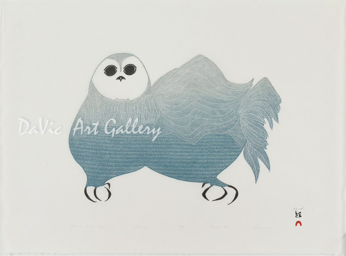 'Owl in Arctic Mist' by Pitaloosie Saila