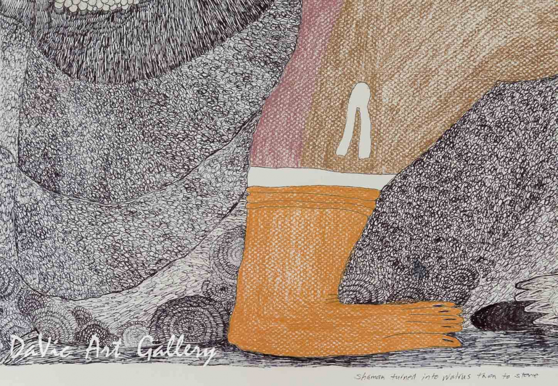'Shaman Turns into Walrus then to Stone' by Ningeokuluk Teevee