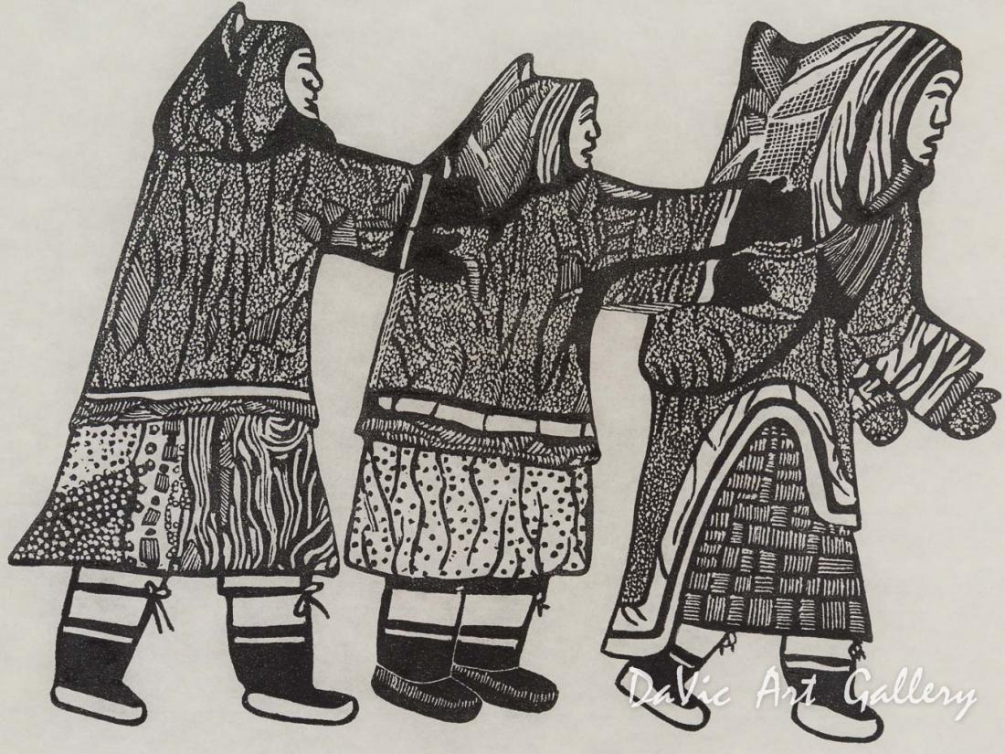 'Three Women Playing' by Pitaloosie Saila