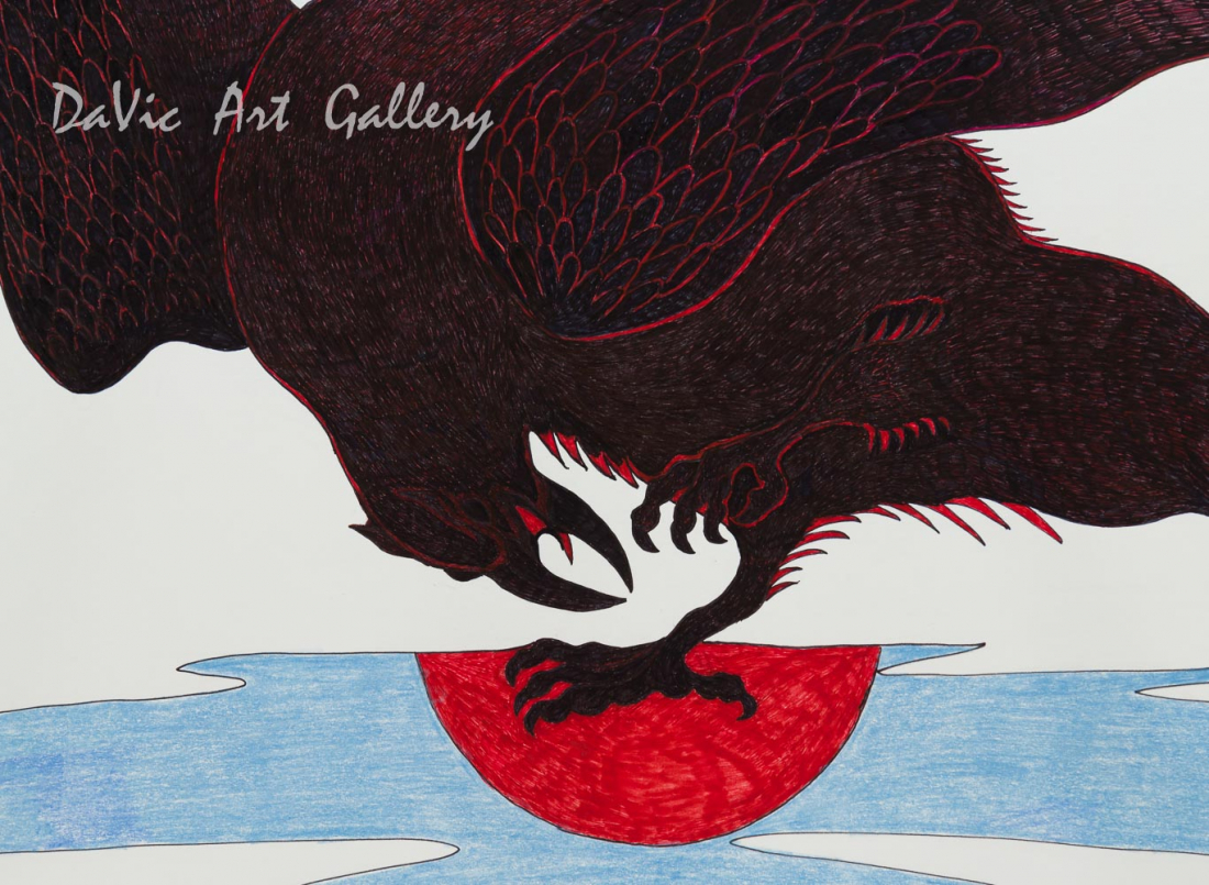 Untitled 'Blood Moon Raven' by Quvianaqtuk Pudlat