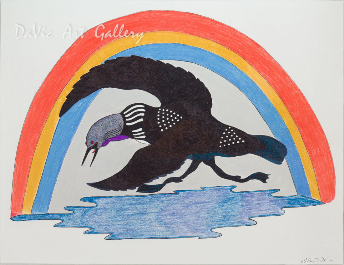 Untitled 'Running Loon' by Quvianaqtuk Pudlat