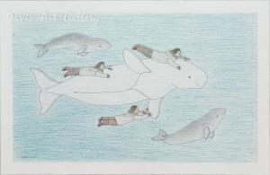 Untitled 'Playing with Belugas' by Qavavau Manumie