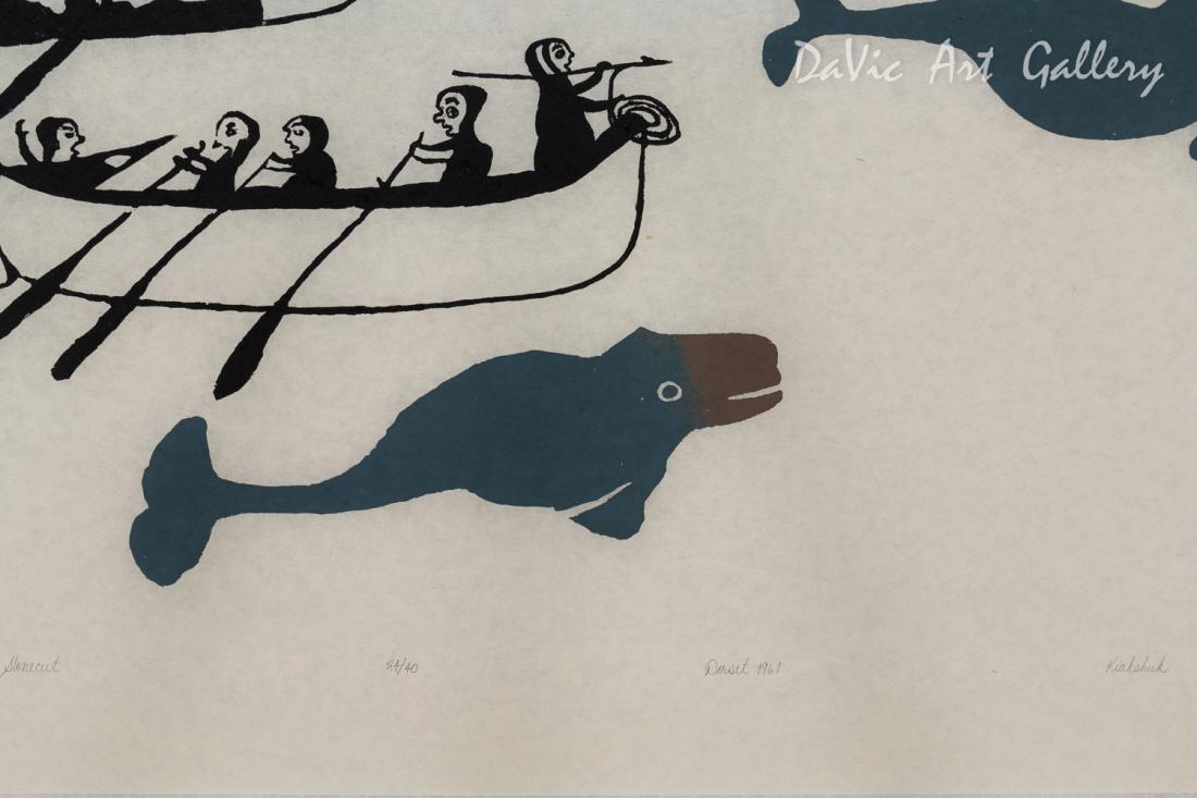 Untitled (Kayaks, Umiaks, 5 Whales) by Kiakshuk
