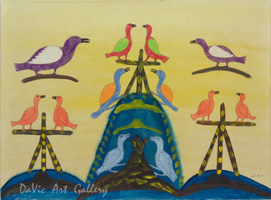 'Birds and Inukshuk' by Eegyvudluk Ragee