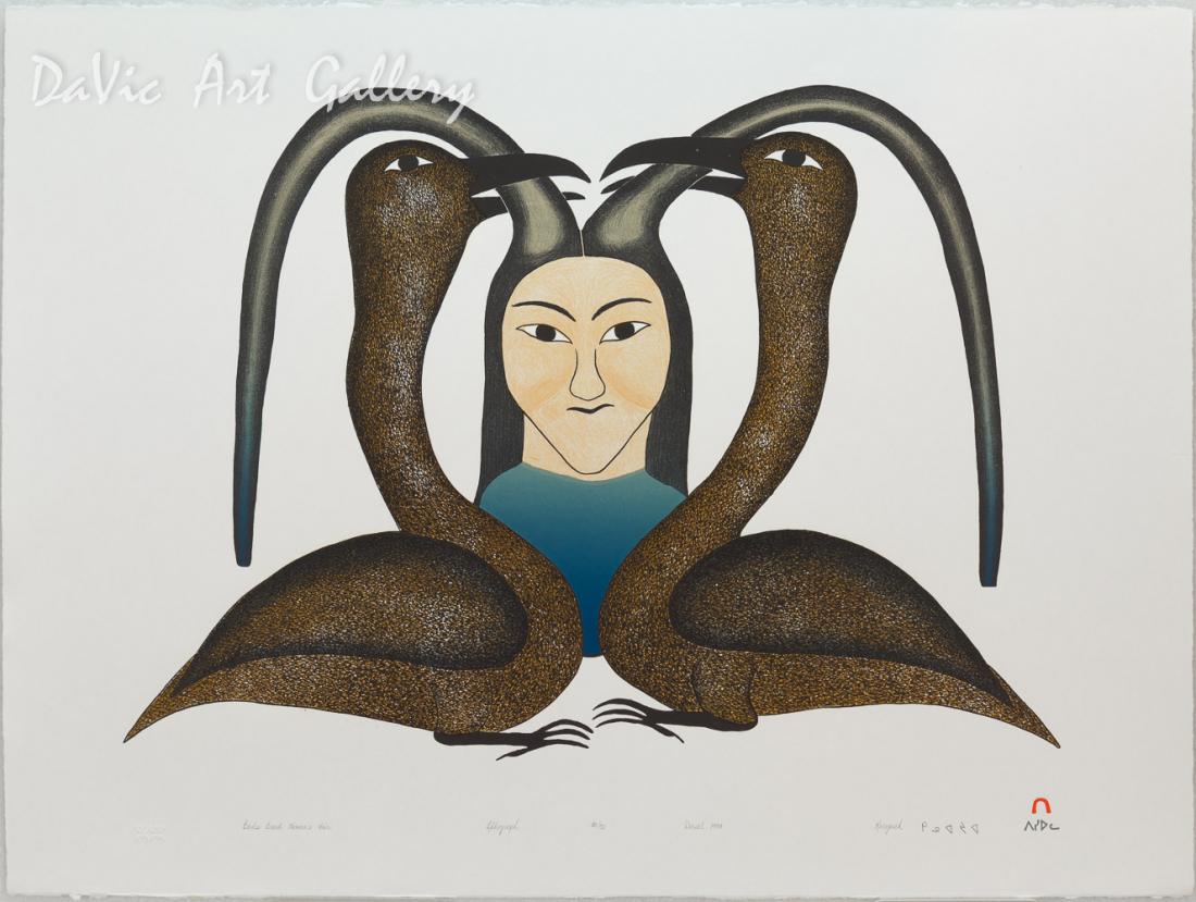 'Birds Braid Woman's Hair' by Kenojuak Ashevak