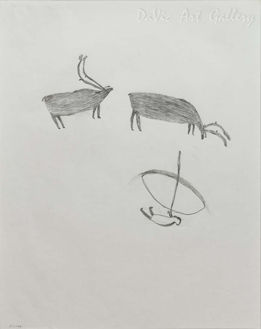 Untitled (Hunter and Two Caribou) by Luke Anguhadluq