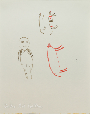 Untitled (Man and Dogs) by Luke Anguhadluq