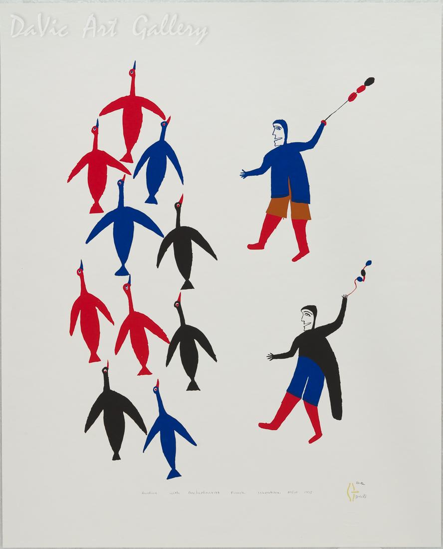 'Hunting with Qeelaptartitt' by Jessie Oonark