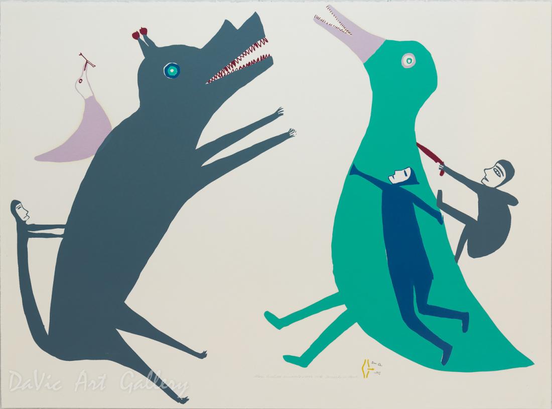 'Men Hunting Animals' by Jessie Oonark