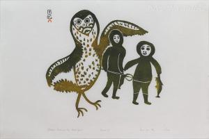 'Children Followed by Bird Spirit' by Lucy Qinnuayuak