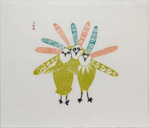 'Feathered Trio' by Lucy Qinnuayuak