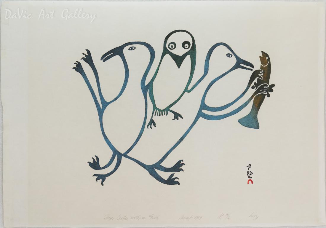 'Three Birds with a Fish' by Lucy Qinnuayuak