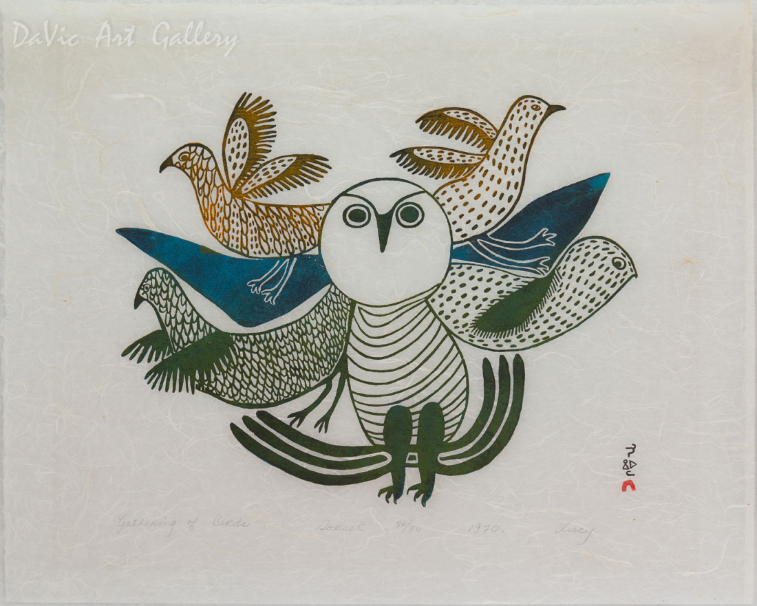 'Gathering of Birds' by Lucy Qinnuayuak