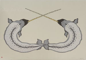 'Sparring Narwhals' by Quvianaqtuk Pudlat