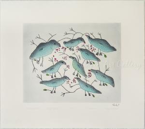 'Birds Eating Berries' by Malaija Pootoogook